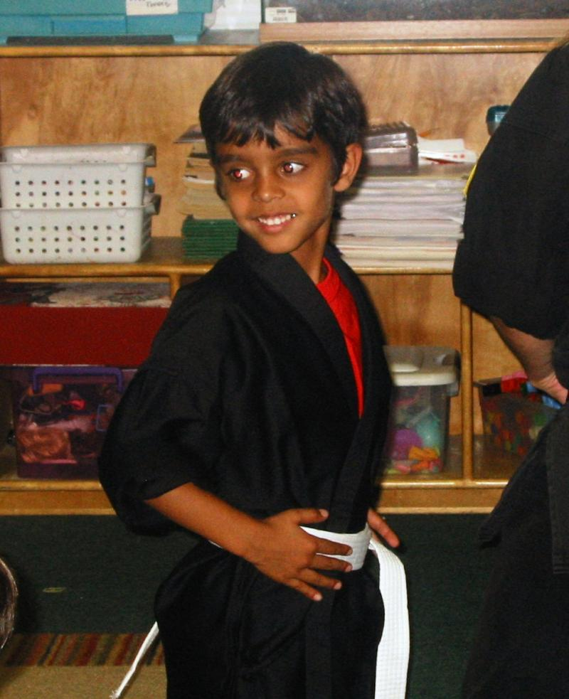 Rohan Receiving his White Belt
